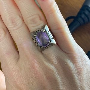 Antique silver with amethyst stone ring size 7